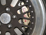 Close-up of installed Brembo brake