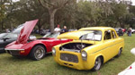 Anglia parked with the Corvette club
